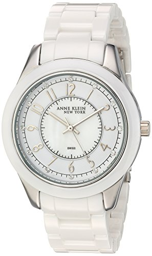 Anne Klein New York Women's Swiss Quartz Metal and Ceramic Dress Watch, Color:White (Model: 12/2225WMWB)