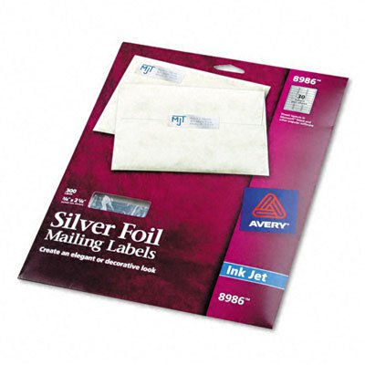 (Avery Foil Mailing Labels, 3/4 x 2 1/4, Silver, 300/Pack)