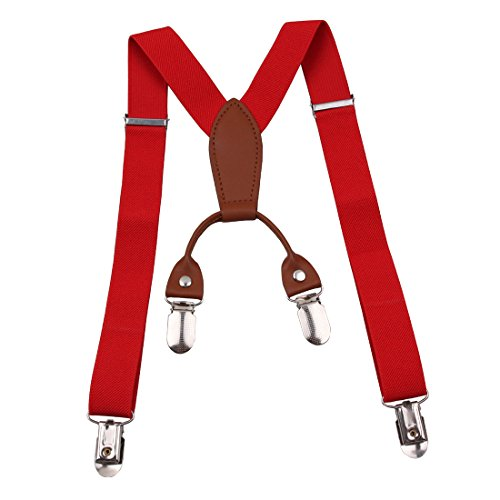 (GUCHOL Boys and Girls Suspenders Strengthen 4 Clips Adjustable Length Braces for Kids (Red))