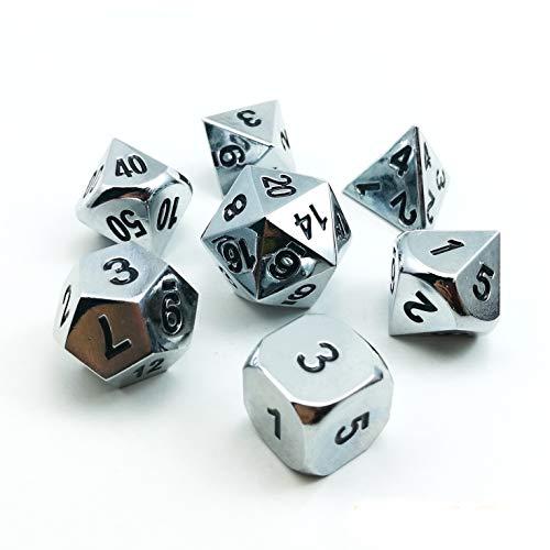Bescon Super Shiny Gloss Silver Metal 7pcs Polyhedral Dice Set, Chrome Metal RPG Game Dice 7pcs Set