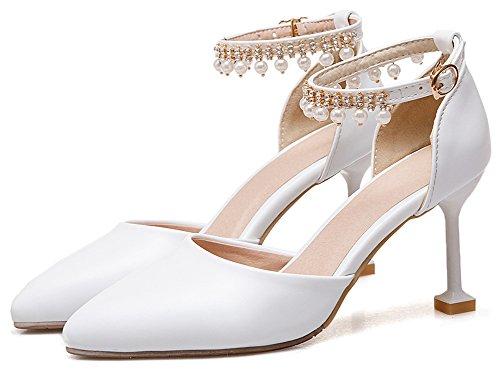 Idifu Mujeres Stylish Beads High Stiletto Heels Correa Para El Tobillo D-orsay Bombas Zapatos Blanco