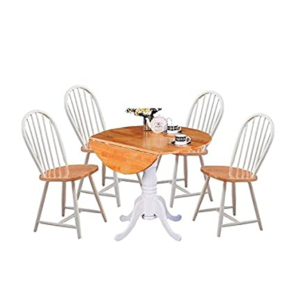 Exceptionnel 5 Piece Cottage Style Dining Set With Dining Chairs And Dining Table In  White And Natural