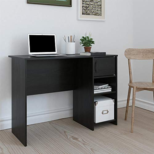 - -Ameriwood Basics Collection Nightfall Oak Eli Computer Desk, Home Desk with Drawer and Cubby Combo, Made from Laminated Particleboard with Nightfall Oak Finish