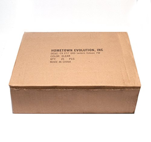 Box of 25 G60 Lantern Edison 2.5 Inch 7 Watt C9 E17 Base Replacement Bulbs by Hometown Evolution, Inc. (Image #2)
