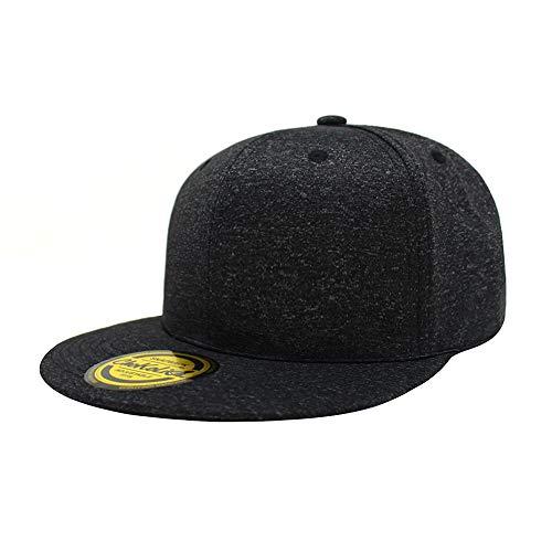 ChoKoLids Flat Visor Snapback Hat Blank Cap Baseball Cap - 14 Colors (Black Melange)