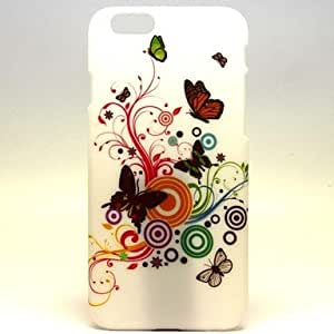 TOPMM Three White Butterfly Pattern Hard Plastic Back Cover Case for ipone 6