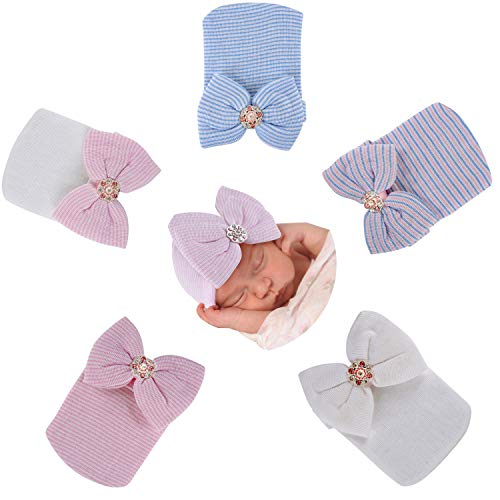(Gellwhu 5-Pack Newborn Baby Girl Bow Hats caps Beanies Hospital Infant hat Clothes Outfits)