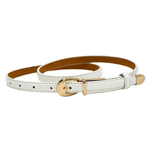 SODIAL(R) Cintura sottile sottile cinturino in pelle color cuoio Candy Pu femminile- rosa 054934A4