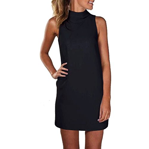 ZSBAYU Sale Summer Party Dresses for Women, Solid Sleeveless Midi Casual Beach Loose Sundress Backless Halter Mini Dress Top(Black,S) Beading Applique Sweetheart Floor