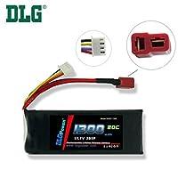 DLG 11.1V 1300mAh 3S 20C Burst 40C LiPO Li-Po High-Discharge Rate Powerful Battery with Dean's T Plug