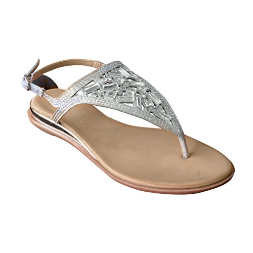 Neue Damen Damen Sommer Zehenspitze Diamante Slingback Sandale Beige
