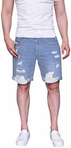 560562ba98 Fashion Men's Zipper Frayed Pants Rip Holes Denim Shorts Jeans Pants  Trousers-11080-2018