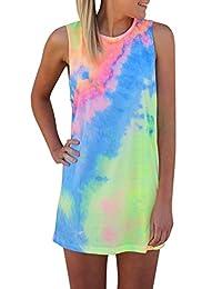 NANYUAYA Women Summer Sleeveless Tie-dye Round Neck Rainbow Long Top Mini Beach Dress