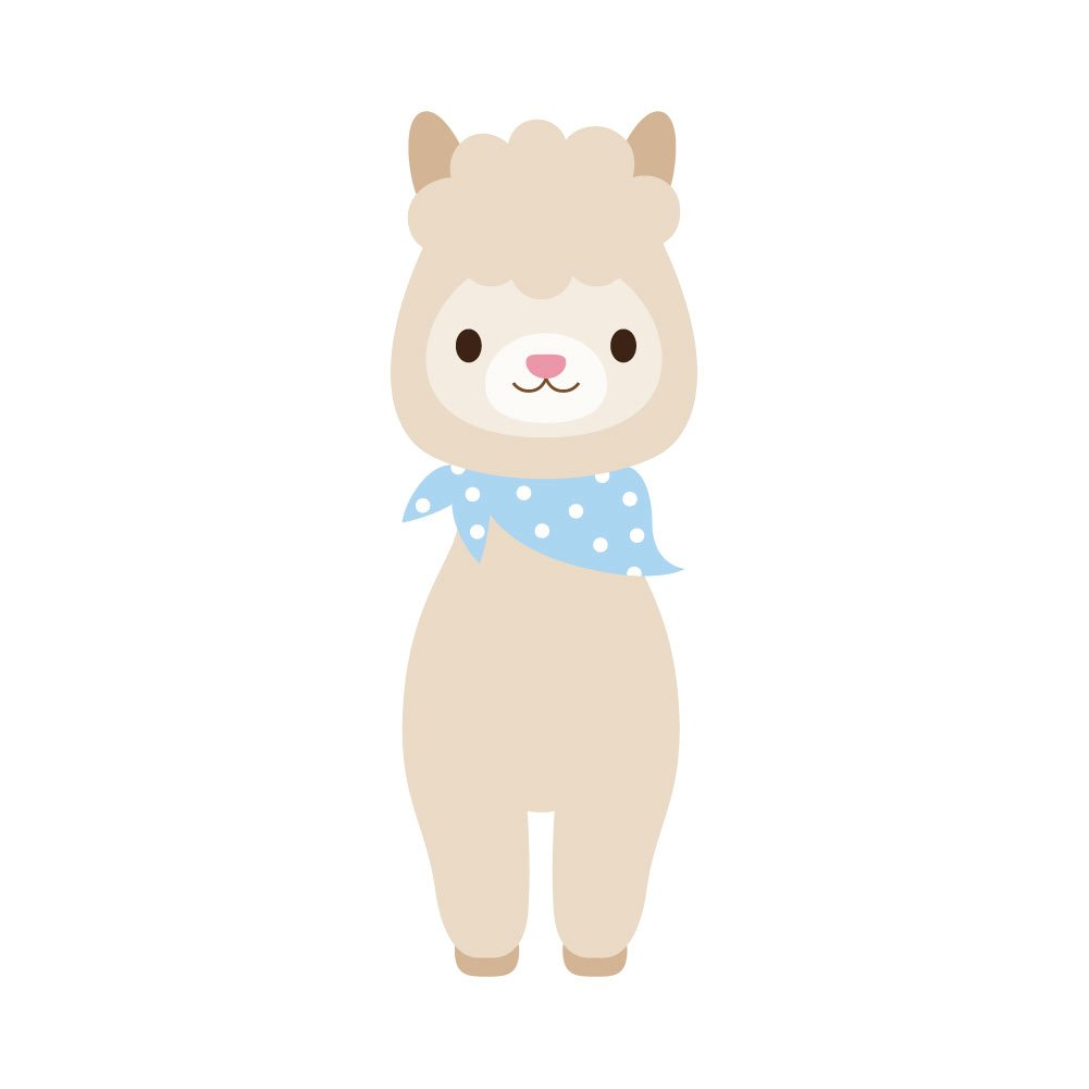 Kawaii Cute Brown Llama With bandana D/écor 4 Inch Full Color Vinyl Decal for Indoor or Outdoor use Cars Laptops Windows and more