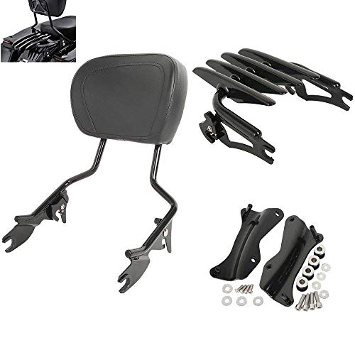 TCMT Detachable Passenger Backrest Sissy Bar With Stealth Luggage Rack 4 Point Docking Hardware Kits Fits For Harley Touring 2014-2019 (black, Style B)