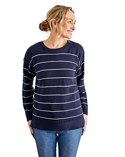 Wool Overs Womens Cotton Stripe Guernsey Sweater Navy/Cream XS