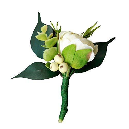 Silk Boutonniere - Silk Cream Ranunculus and Berry Boutonniere