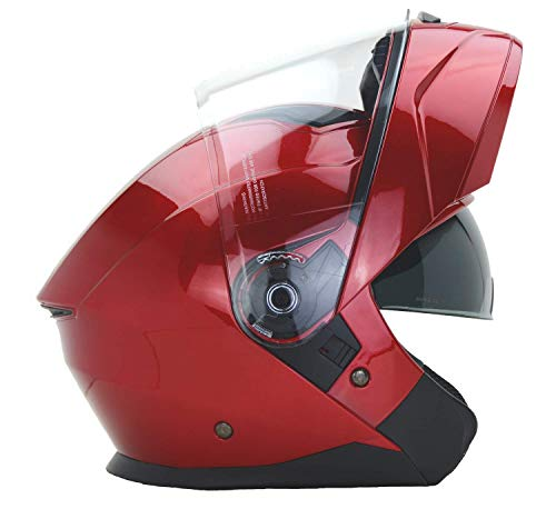 (Vega Helmets Unisex-Adult Caldera Modular Motorcycle & Snowmobile Helmet 30% Larger Shield and Sunshield (Velocity Red, X-Large))