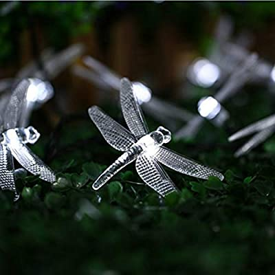 Peaubogo 30 LED Dragonfly Solar String Lights Waterproof Fairy Lighting Outdoor Garden Landscape Decoration