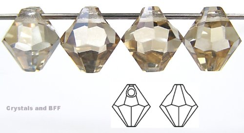 6mm Crystal Honey coated, Czech Machine Cut Top Drilled Bicone Pendant (6301 Shape), 12 pieces