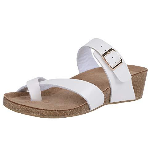 (LAICIGO Womens Flip Flop Sandals Thong Wrap Low Wedge Slip-on Buckle Faux Leather Mayari Sandals)