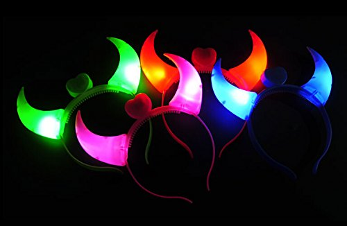 WEICO DIRECT 12 Pack LED Light Up Flashing Devil Horns Headband - Glowing Devil Horns LED Costume Headband (Multi-Color)
