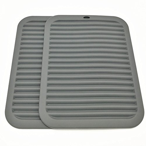"Silicone Trivets Smithcraft Premium 9""X12"" Big for Hot Dishes,Pots and Pans - Waterproof trivet mat, (Set of 2) Color Gray"