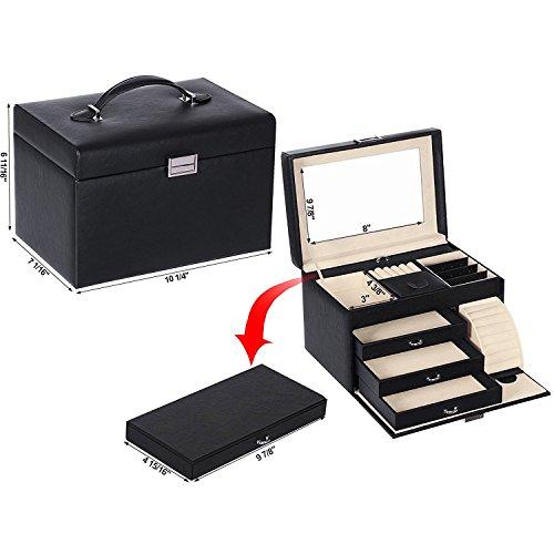 BEWISHOME Jewelry Box Organizer Case Display Storage W/Travel Case Large Mirrored 10 1/4'' x 7 1/16'' x 6 11/16'' Black PU Leather for Girls Women SSH53B by BEWISHOME (Image #6)