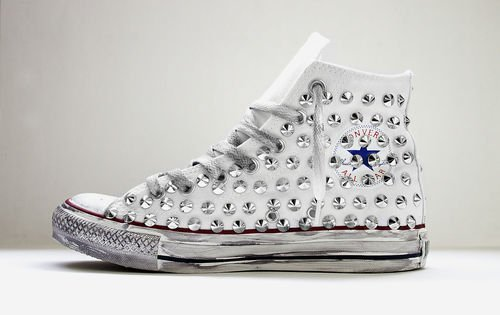 all star converse bianche borchie