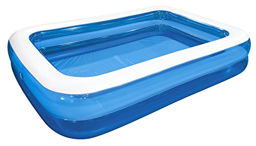 (Jilong Rectangular Family Inflatable Pool for Ages 6+, Blue, 103