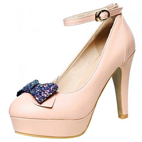 COOLCEPT Damen Mode Knochelriemchen Pumps Blockabsatz Geschlossene Plateau Schuhe Mit Bogen Gr Rosa