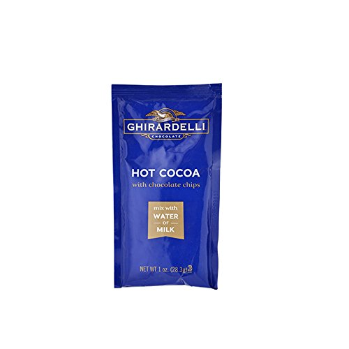 Ghirardelli Premium Hot Cocoa with Chocolate Chips (Water or Milk Soluble), 15 Single Serve Packets