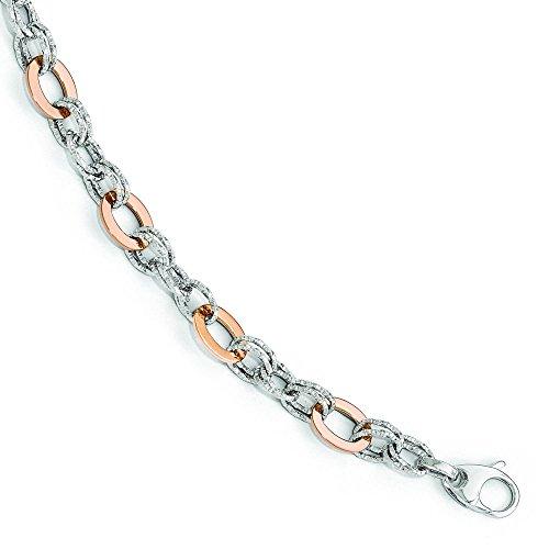 En Or Blanc et Rose 14ct poli Fancy-Bracelet Lien-20cm