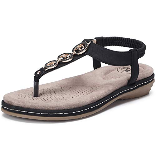 (CAMEL CROWN Women's T-Strap Thong Sandals Summer Beach Bohemian Flat Comfortable Sandals Slingback Ankle Strap Flip Flops Casual Holiday Shoes Black)