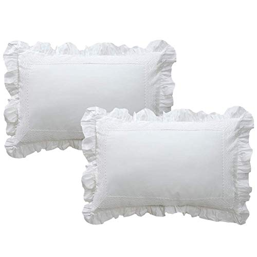 TEALP Decorative Pillow Shams with Ruffle Shabby Shams Rustic Farmhouse Lace Shabby Soft Breathable Bridal Pure White Set of 2 King Size 20x36 Shams,White,Cotton