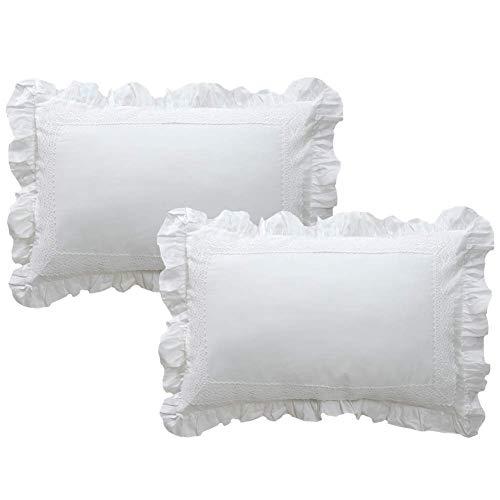 TEALP White Decorative Pillow Shams with Ruffle Shabby Shams Set of 2 Standard Size 20x26 Shams