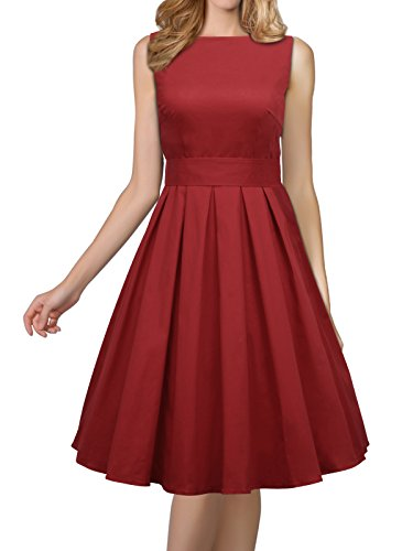 iLover Women's 1950s Style Rockabilly Swing Vintage Dresses Party Dress,WineRed,Large by iLover