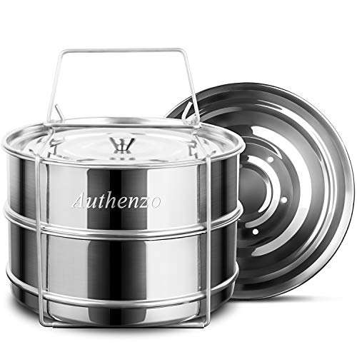 Authenzo Stackable Insert (Two Layers) with Sling for Instant Pot Accessories 6/8 QT-Stainless Steel Food Steamer for Pressure Cooker, Baking, Other Pans, Upgraded Interchangeable Lids Included