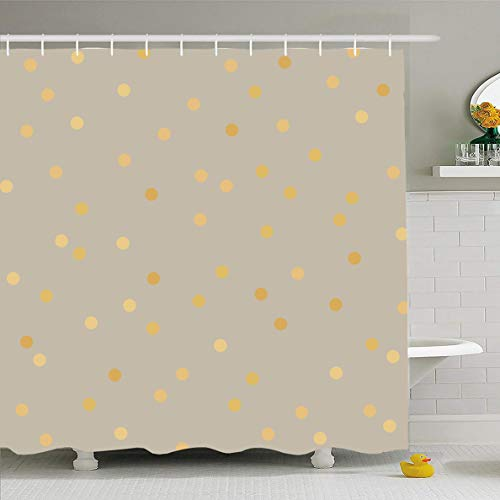 Ahawoso Shower Curtain 72x72 Inches Rough Beige Pattern Polka Dot Golden Abstract Yellow Gold Brown Foil Luxury Gradient Cream Design Bronze Waterproof Polyester Fabric Set with Hooks - Gradient Brown Bronze