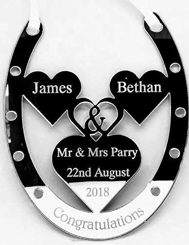 Classic Accessories Personalised Wedding Day Horse Shoe Gift Mirrored Silver Mr and Mrs Surname Personalised Wedding Bridal Good Luck Horseshoe Gift and Lucky Keepsake Classic Wedding Crafts