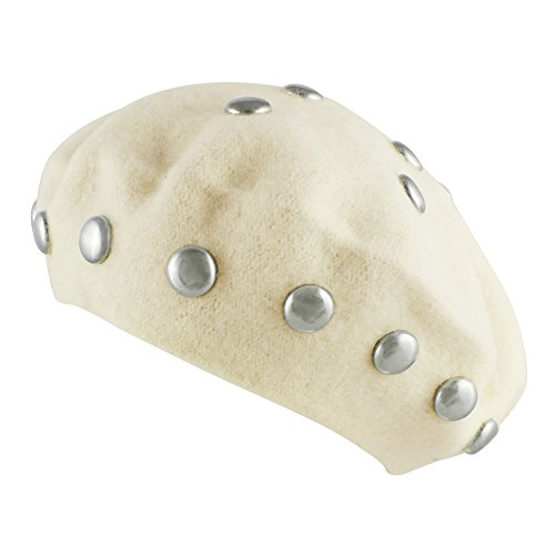Morerhats Women's Wool Round Studs Studded Beret Warm Winter Hat - Off White (Beret Studded)