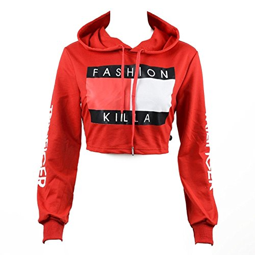 U-WARDROBE Casual Hoodie Literal Printing Sport Crop Top Sweatshirt Jumper Pullover Tops Red M