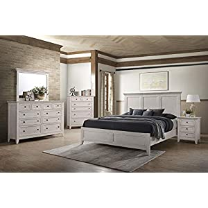 Carefree Home Furnishings Intercon San Mateo King Size 4 Piece Panel Bedroom Set Rustic White Finish