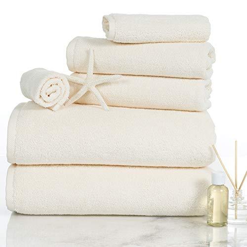 Lavish Homes 67-0017-I 6 Piece Cotton Towel Set44; Ivory