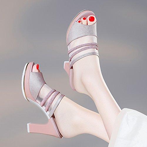 KHSKX-Lässig Damenschuhe Frauen - Sandalen Die Ferse Casual Damenschuhe Frauen - Mode Schuhe Thirty-five