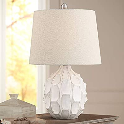 Ellen Mid Century Modern Accent Table Lamp White Ceramic Linen Tapered Drum Shade for Living Room Bedroom Bedside Nightstand Office Family - 360 Lighting
