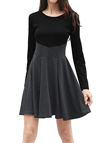 Allegra K Women's Long Sleeves Color Block Above Knee A Line Dress XL Grey