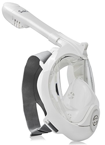 SnorkelTech GoPro Compatible Snorkel Mask - Dual Channel with Anti Fog Anti Leak Features - 180 Degree Panoramic View - Innovative Full Face Design Prevents Gag Reflex