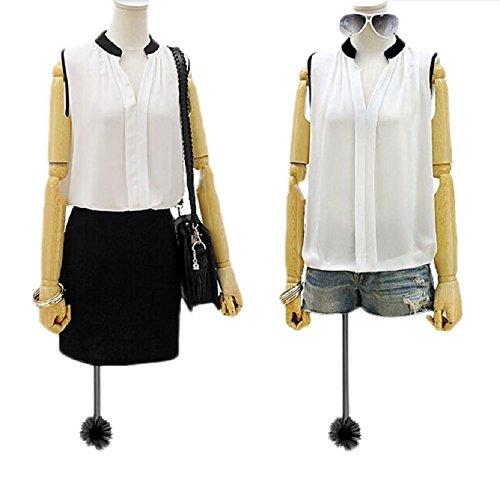 Coromose Women Summer Loose Casual Chiffon Sleeveless Vest Blouse Shirt Tops (S, white 2)