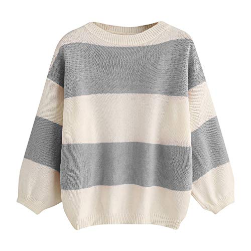 Smallrabbit Warm Oversized Sweaters Longsleeves Color Block Cute Striped Sweaters for Women (Bust=41.74-49.61